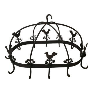 20th Century Country French Black Iron Pot Rack With Chicken Motif For Sale