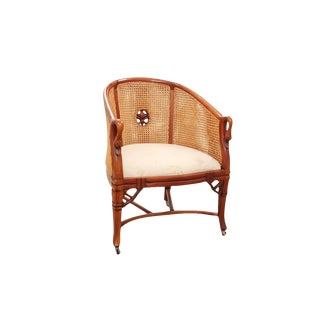 1990s Vintage Carved Swan Double Caned Barrel Back Chair For Sale