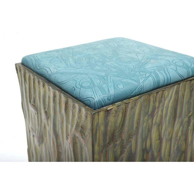Phillip Lloyd Powell Painted Hand-carved Stools With Abstract Patterned Textile - Image 5 of 7