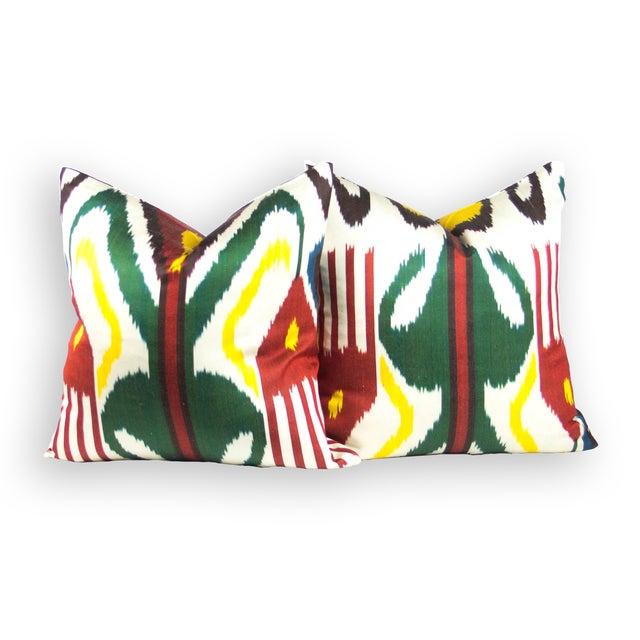 Multi-Colored Silk Ikat Pillows - Pair - Image 2 of 3