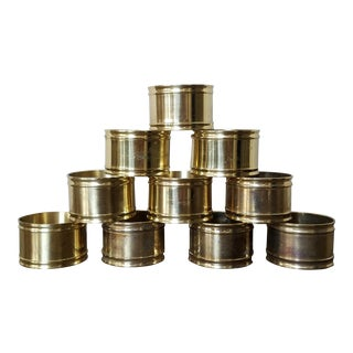 Solid Brass Napkin Rings, 10 Piece For Sale