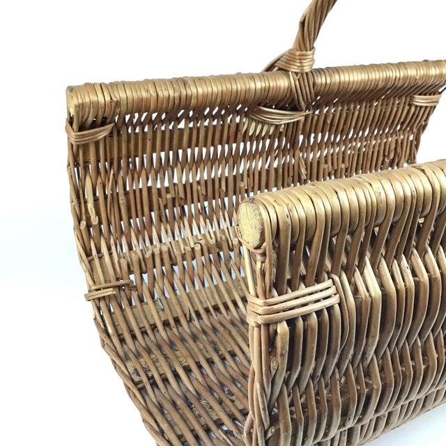 Vintage Wicker Log Basket & Magazine Rack For Sale - Image 10 of 13