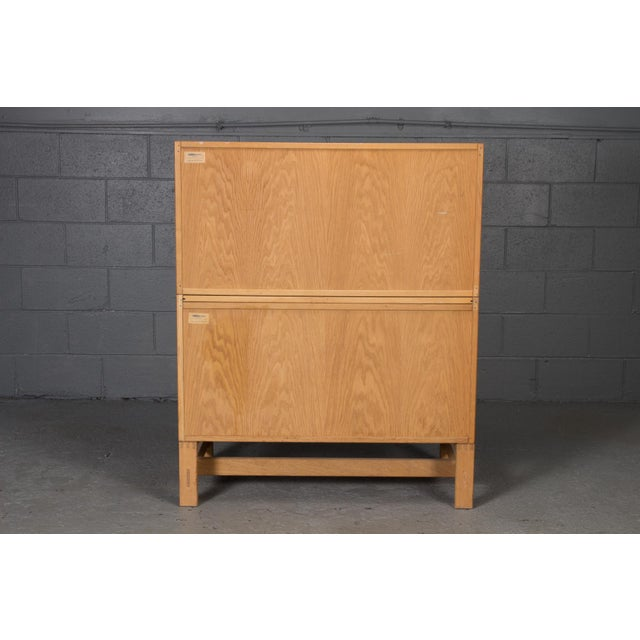 Wood Danish Modern Oak Bookcase Unit and Chest For Sale - Image 7 of 9