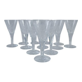 Etched Wildlife Sherry Glasses - Set of 12 For Sale