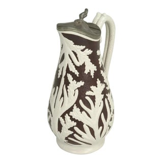 """Antique English """"Beech & Hancock"""" Stoneware Pitcher With Its Original Lid For Sale"""