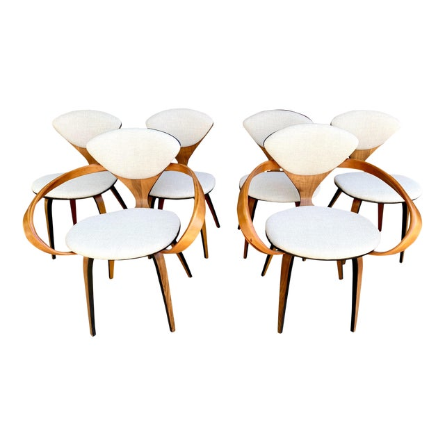 1950s Vintage Norman Cherner for Plycraft Molded Plywood Dining Chairs- Set of 6 For Sale