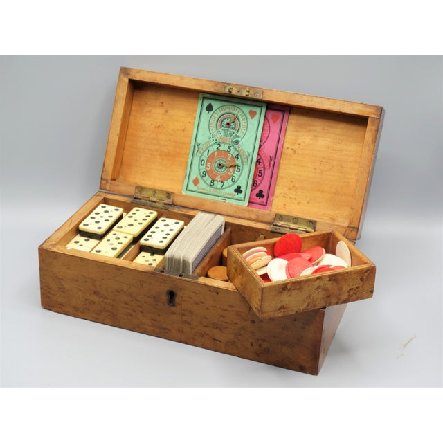 Antique Birds Eye Maple Games Box & Contents For Sale - Image 4 of 9