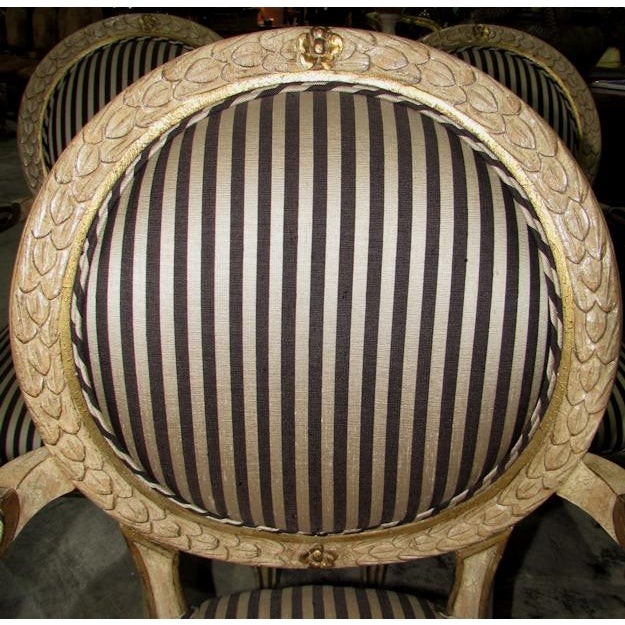 Gold French Louis XV Carved Wood Oval Back Dining Arm Chairs - Set of 7 For Sale - Image 8 of 13
