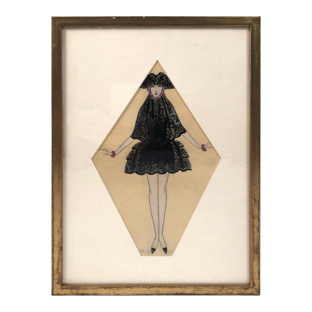 Art Deco Period Fashion Costume Drawing of Venetian Woman For Sale