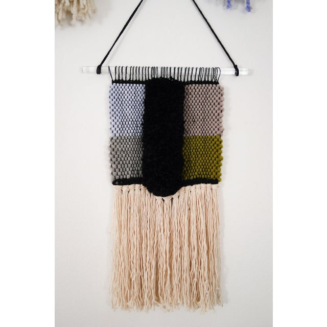 Handwoven Blue, Green, Tan, Grey, Black, and Cream Wall Hanging - Image 2 of 6