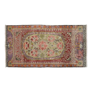 Distressed Low Pile Oushak Yastik Rug Faded Colors Vintage Petite Rug - 27'' X 51'' For Sale