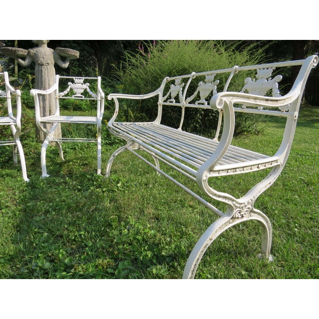 White 1900s Karl Friedrich Schinkel Style Neoclassical Cast Iron Patio Suite - 4 Pc. Set For Sale - Image 8 of 13