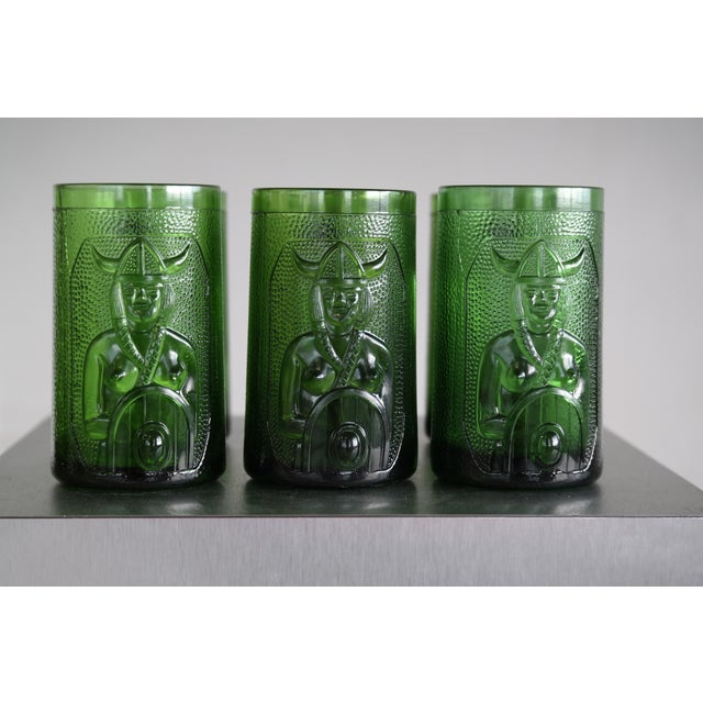 Set of 6 Viking Glass Beer Mugs by John Käll for Elme Glasbruk Sweden - Image 5 of 8