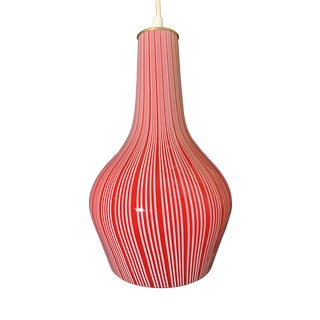 Massimo Vignelli Cased Murano Glass Red and White Striped Pendant Lamp for Venini For Sale