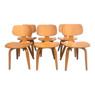 Vintage Mid Century Thonet Plywood Dining Chairs- Set of 6 For Sale