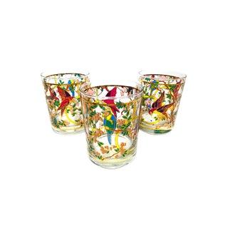 1950s Vintage Mid Century Old Fashion Glasses With 22k Gold Leaf Detailing - Set of 3 For Sale