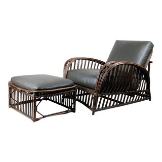 Bradley and Hubbard Leather Wicker Chair and Ottoman