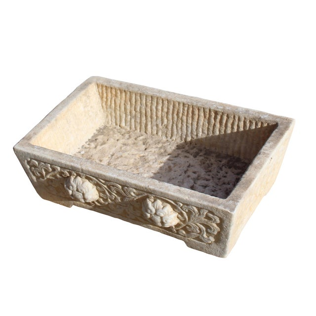 Chinese Off White Gray Marble Stone Carved Rectangular Pot Planter For Sale - Image 4 of 7