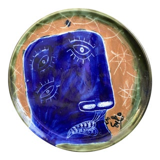 "Abstract Cubism Art Hand Painted Cobalt Blue ""Third Eye"" Face Ceramic Decorative Pottery Plate For Sale"