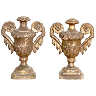 19th Century Hand Carved Giltwood Italian Porte Palm Urns - A Pair For Sale
