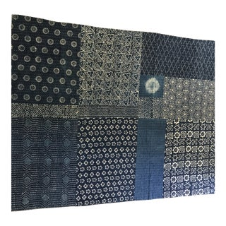 Indian 100% Cotton Coverlet in Indigo For Sale