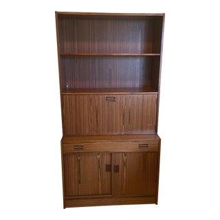 Danish Modern Rosewood Veneer Secretary Drop Down Desk For Sale