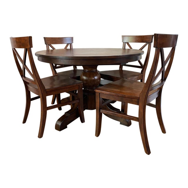 Traditional Pottery Barn Dining Set - 5 Pieces For Sale