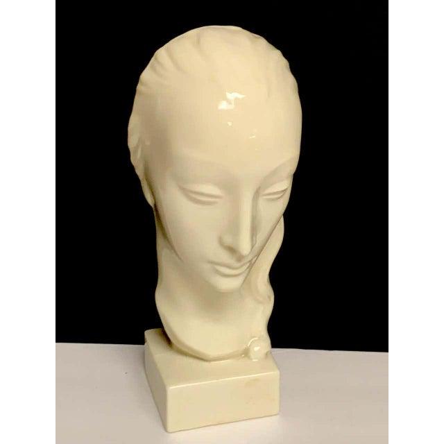 Geza De Vegh for Lenox Art Deco Portrait Bust of a Woman Sculpture For Sale In West Palm - Image 6 of 13