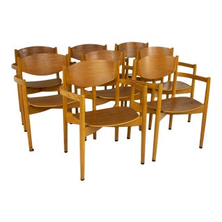 Jens Risom Mid Century General Purpose Walnut Dining Chairs - Set of 8 For Sale
