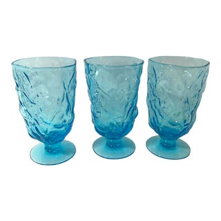 Vintage Peacock Blue Hand Blown Footed Tumblers - Set of 3 For Sale