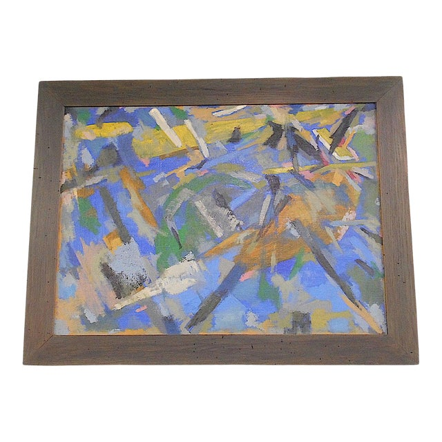 Original Vintage Mid 20th Century Abstract Oil/Canvas-Signed/Dated-French Artist Raymond Abner For Sale