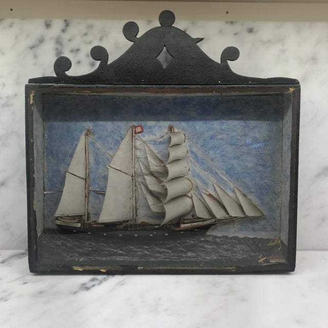 Early 19th Century Diorama Shadow Box of Sailing Vessel For Sale - Image 11 of 11