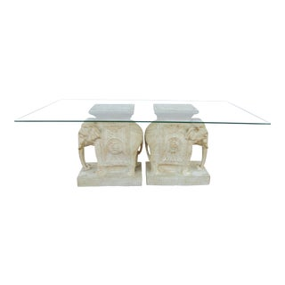 Boho Chic Elephant Pedestal Coffee Table For Sale