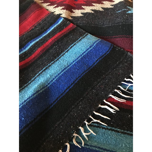 Charcoal Navajo Style Red Blue Gray Woven Cotton Throw Blanket For Sale - Image 7 of 8