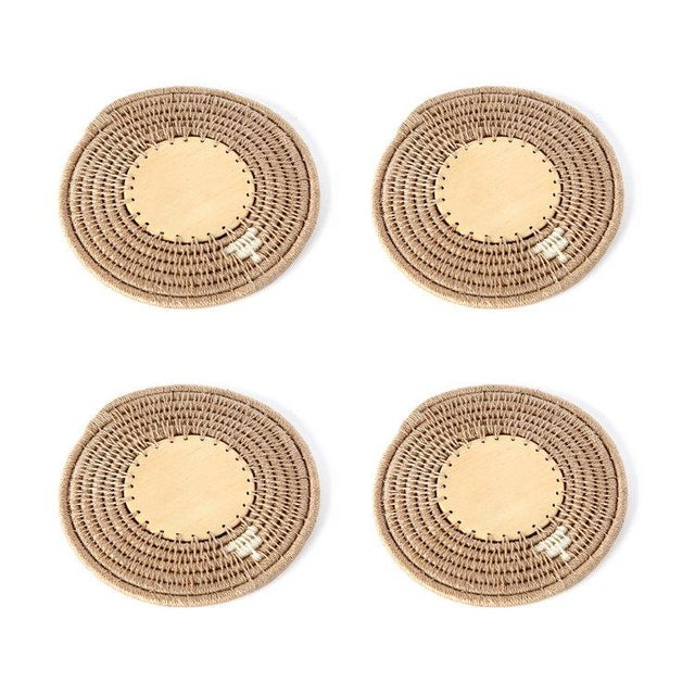 Boho Chic Round Coasters Flax - Set of 4 For Sale - Image 3 of 3