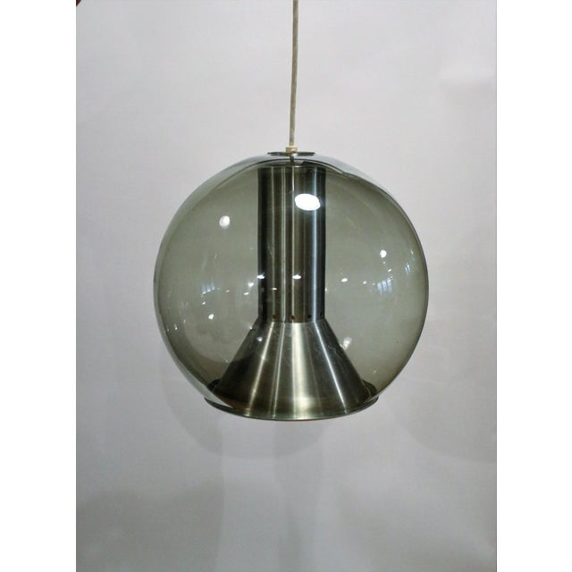 Smoked Glass Model B 1040-20 Globe Ceiling Lamp by Franck Ligtelijn for Raak, 1960s. Wired and working.