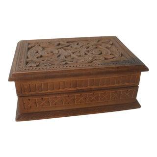 European Carved Wood Cufflink Jewelry Trinket Box For Sale