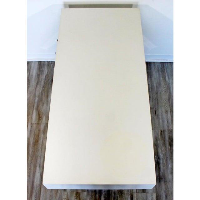 1960s Milo Baughman Mid-Century Modern Campaign White Lacquer Chrome X Base Desk For Sale In Detroit - Image 6 of 12