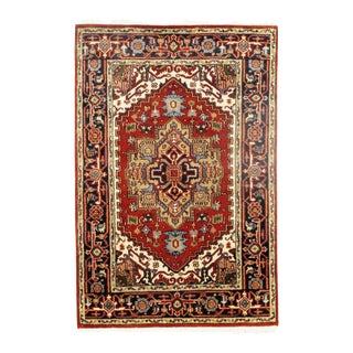 Traditional Pasargad N Y Fine Serapi Design Hand-Knotted Rug - 4' X 6'