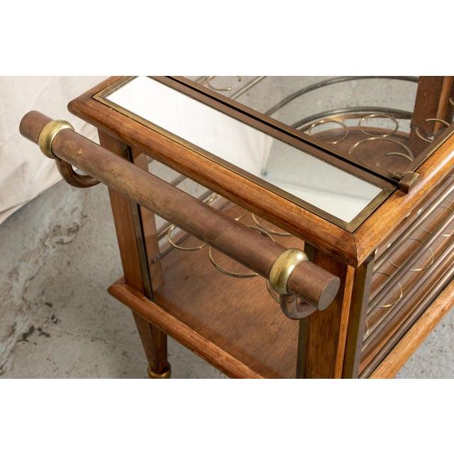 Vintage Walnut and Bronze Bar Cart For Sale - Image 4 of 10