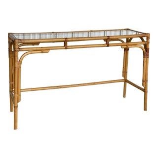 Vintage Coastal Rattan Console Table For Sale