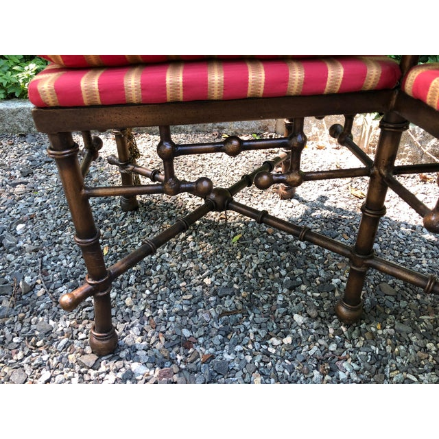 1970s Bronzed Iron Faux Bamboo Bench For Sale - Image 5 of 7