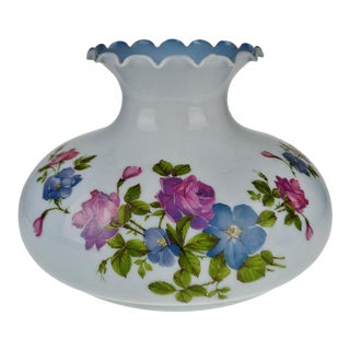 """Vintage 13"""" Powder Blue Floral Glass Lampshade For Sale"""