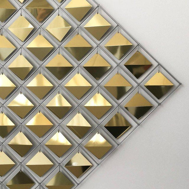 Artisan House Curtis Jere Brass Diamond Kinetic Wall Sculpture For Sale - Image 4 of 9