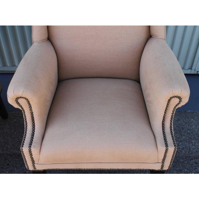 Pair of Fantastic 1920s Wing Chairs in Mocha Linen For Sale In Los Angeles - Image 6 of 7