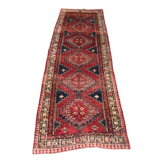 1930s Hand-Knotted Middle Eastern Red Wool Runner For Sale