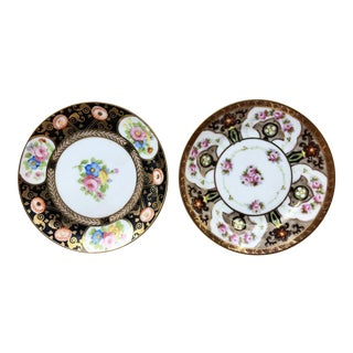 Japanese Gilt Floral Porcelain Dishes - a Pair For Sale