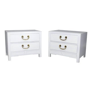 Mid-Century Modern White Lacquer Two-Drawer End Tables - a Pair For Sale