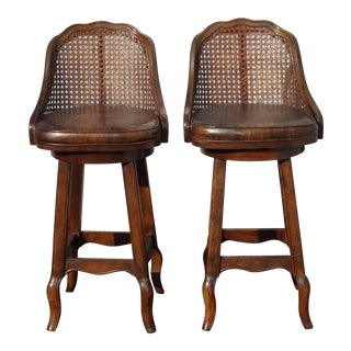Vintage French Country Brown Cane Swivel Bar Stools- A Pair For Sale