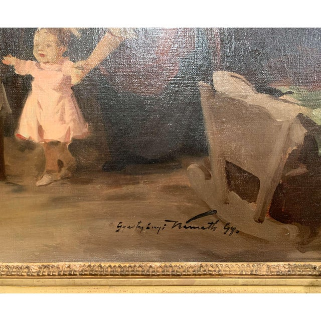 19th Century Hungarian Oil on Canvas Painting in Gilt Frame Signed & Dated, 1897 For Sale - Image 4 of 12